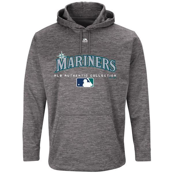 マジェスティック メンズ パーカー・スウェットシャツ アウター Seattle Mariners Majestic Authentic Collection Team Drive Ultra-Streak Fleece Pullover Hoodie Graphite