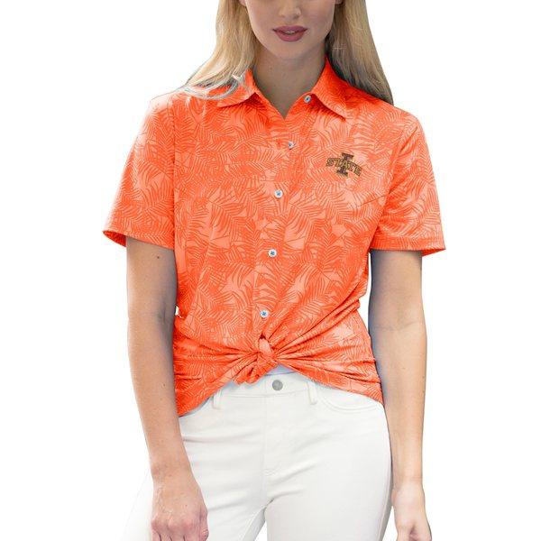 ビンテージアパレル レディース シャツ トップス Iowa State Cyclones Women's Vansport Pro Maui Button-Up Shirt Orange
