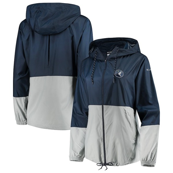 コロンビア レディース ジャケット&ブルゾン アウター Minnesota Timberwolves Columbia Women's Flash Forward Windbreaker Full-Zip Jacket Navy