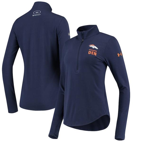 アンダーアーマー レディース ジャケット&ブルゾン アウター Denver Broncos Under Armour Women's Combine Authentic Favorites Performance Tri-Blend Half-Zip Pullover Jacket Navy