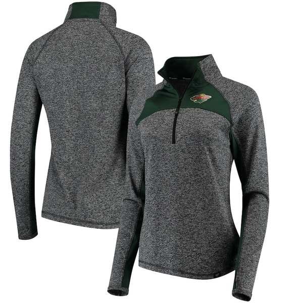 ファナティクス レディース ジャケット&ブルゾン アウター Minnesota Wild Fanatics Branded Women's Static Quarter-Zip Jacket Heathered Black