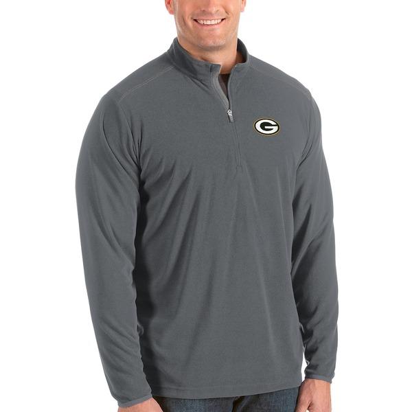アンティグア メンズ ジャケット&ブルゾン アウター Green Bay Packers Antigua Glacier Big & Tall Quarter-Zip Pullover Jacket Steel