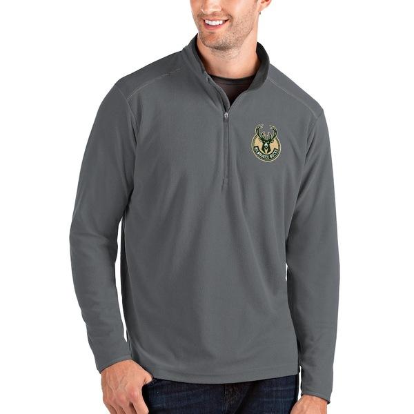 アンティグア メンズ ジャケット&ブルゾン アウター Milwaukee Bucks Antigua Big & Tall Glacier Quarter-Zip Pullover Jacket Gray/Gray