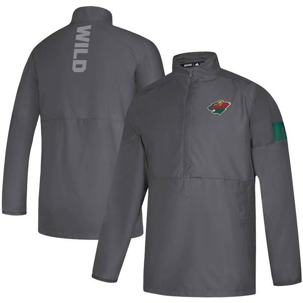 アディダス メンズ ジャケット&ブルゾン アウター Minnesota Wild adidas Game Mode climalite Quarter-Zip Jacket Gray