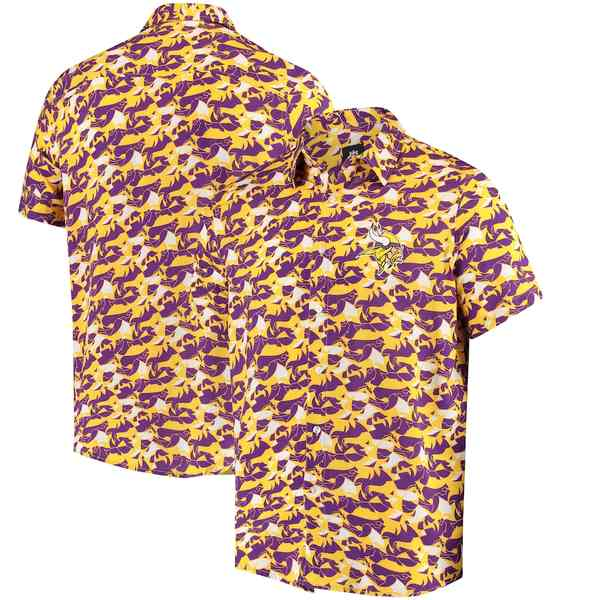フォコ メンズ シャツ トップス Minnesota Vikings NFLxFIT Quicksnap Woven Shirt Purple/Gold