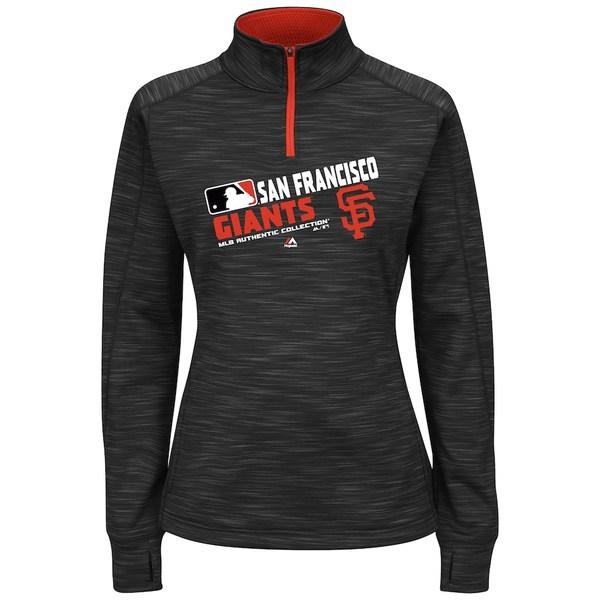 マジェスティック レディース ジャケット&ブルゾン アウター San Francisco Giants Majestic Women's Plus Size Authentic Collection Team Choice Quarter-Zip Sweatshirt Black