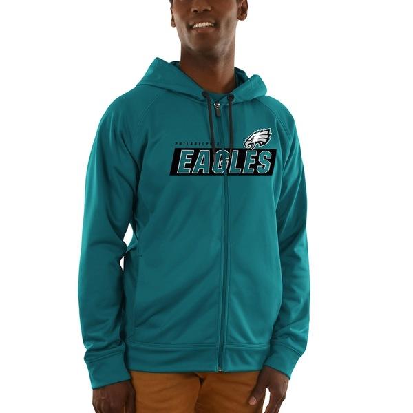 マジェスティック メンズ パーカー・スウェットシャツ アウター Philadelphia Eagles Majestic Game Elite Synthetic Full-Zip Hoodie Midnight Green