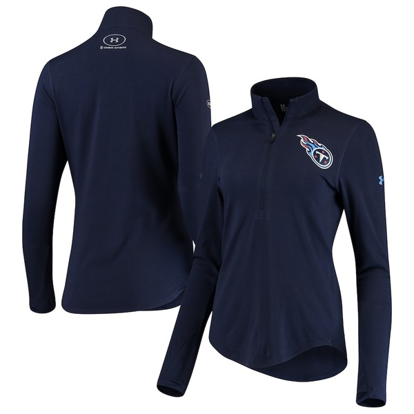 アンダーアーマー レディース ジャケット&ブルゾン アウター Tennessee Titans Under Armour Women's Combine Authentic Favorites Half-Zip Jacket Navy