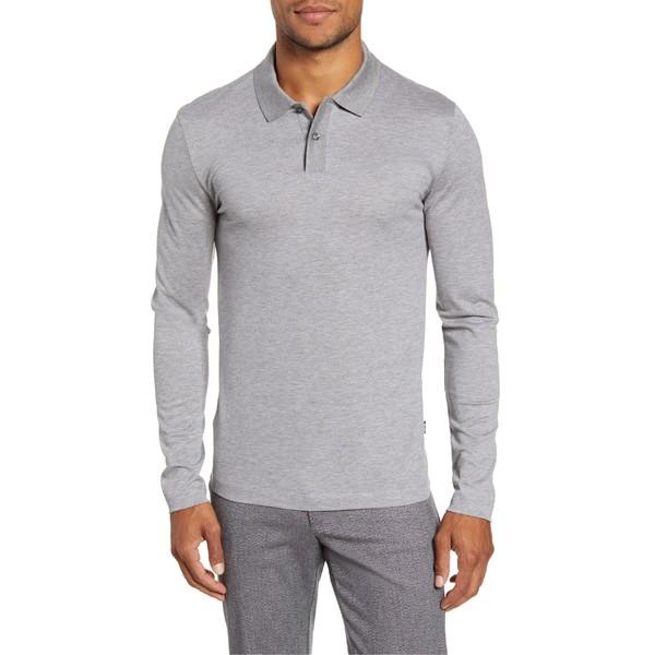 ボス メンズ ポロシャツ トップス BOSS Paschal Long Sleeve Polo Grey