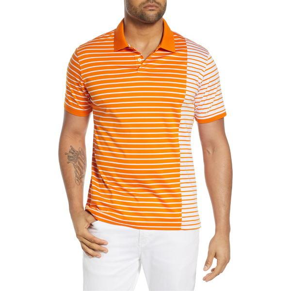 ブガッチ メンズ ポロシャツ トップス Bugatchi Stripe Polo Fire Orange