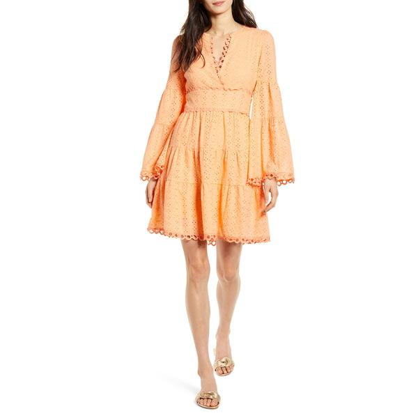 ロストアンドウォーター レディース ワンピース トップス Lost + Wander Talia Eyelet Long Sleeve A-Line Dress Cantaloupe
