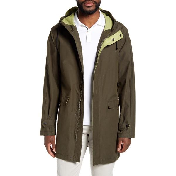 ヴィンスカムート メンズ コート アウター Vince Camuto Water Resistant Hooded Raincoat Olive/ Lime