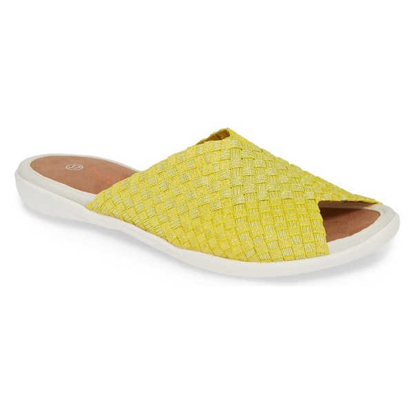 バーニーメブ レディース サンダル シューズ bernie mev. Bonbon Slide Sandal (Women) Yellow Shimmer Fabric