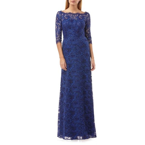 ジェイエスコレクションズ レディース ワンピース トップス JS Collections Bateau Neck Lace Gown Ultramarine