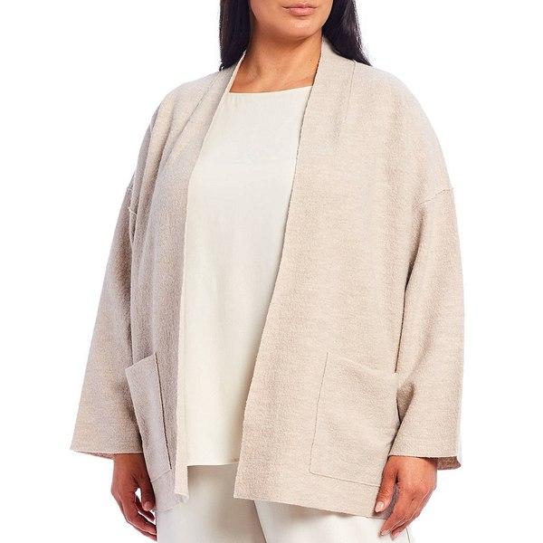 特売 エイリーンフィッシャー レディース ジャケット&ブルゾン アウター Plus Size Light Boiled Wool Open Front Jacket Maple Oat, ブリリアントレディ 2560809c