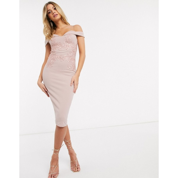 アックスパリ レディース ワンピース トップス AX Paris cut out strap cold shoulder dress in light pink Light pink