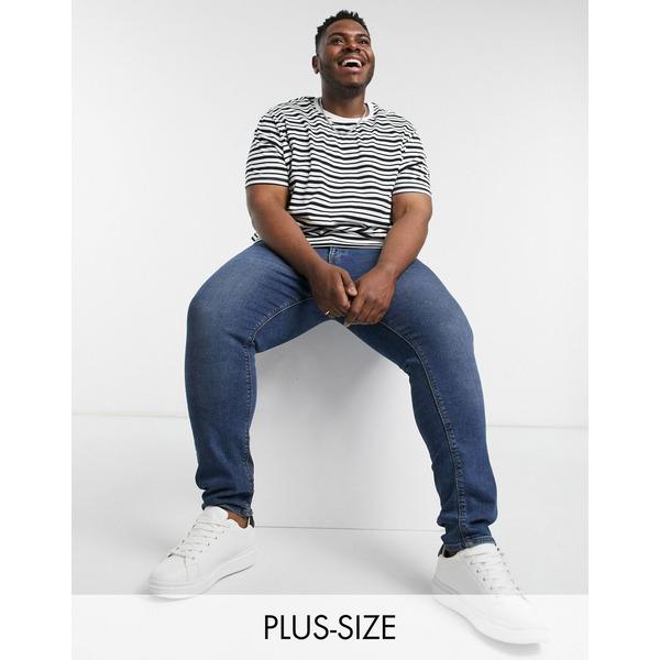 ニュールック メンズ Tシャツ トップス New Look Plus stripe t-shirt in black Black:asty