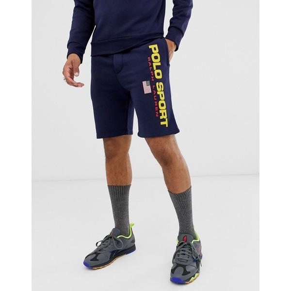 ラルフローレン メンズ カジュアルパンツ ボトムス Polo Ralph Lauren Sport Capsule flag logo sweat shorts in navy Navy