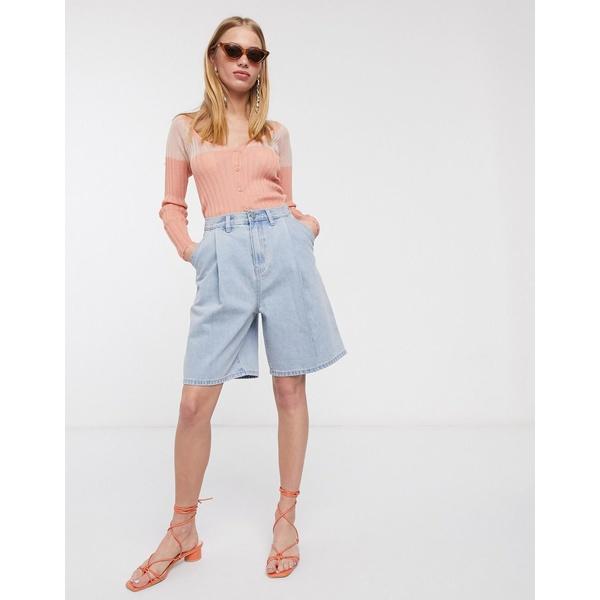 ロストインク レディース カジュアルパンツ ボトムス Lost Ink longline shorts with pleat front in vintage wash denim Vintage wash denim