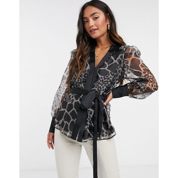 リバーアイランド レディース シャツ トップス River Island giraffe print organza wrap blouse in black Black