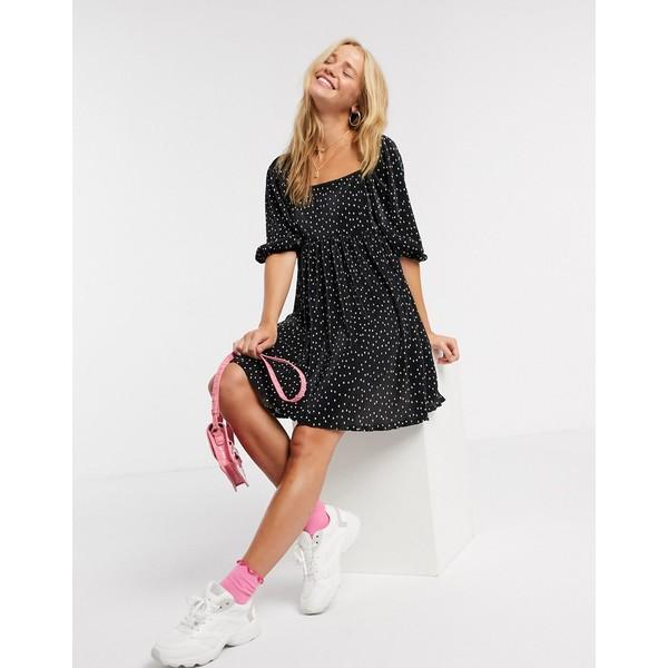 エイソス レディース ワンピース トップス ASOS DESIGN plisse mini dress with square neck in polka dot Black spot