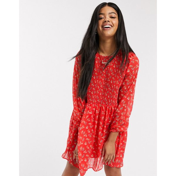 エイソス レディース ワンピース トップス ASOS DESIGN shirred mini smock dress in ditsy floral print Red based floral