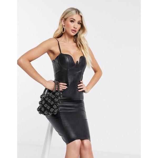 レア レディース ワンピース トップス Rare London PU bodycon dress in black Black
