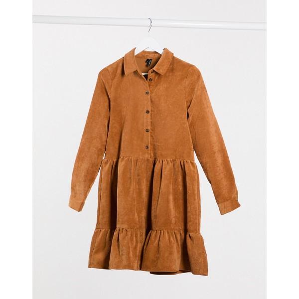 ヴェロモーダ レディース ワンピース トップス Vero Moda cord smock shirt dress in brown Birch