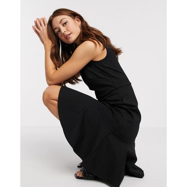 クローゼットロンドン レディース ワンピース トップス Closet fitted midi dress with pephem in black Black