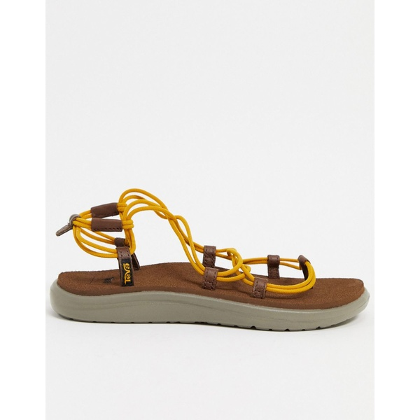テバ レディース サンダル シューズ Teva Voya Infinity lace up sandals in stripe Sunflower/ bison