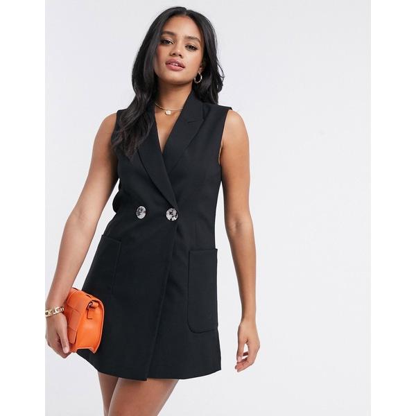 ストラディバリウス レディース ワンピース トップス Stradivarius suit vest dress in black Black