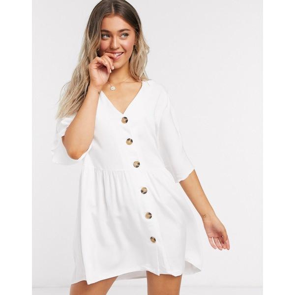 エイソス レディース ワンピース トップス ASOS DESIGN v neck button through mini smock dress in white White