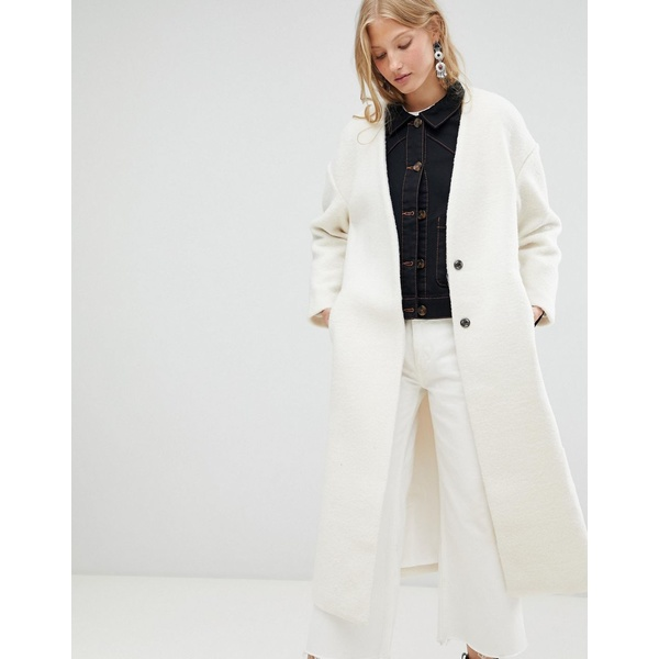 ディーラ レディース コート アウター d.Ra Elia Collarless Longline Duster Coat Cream
