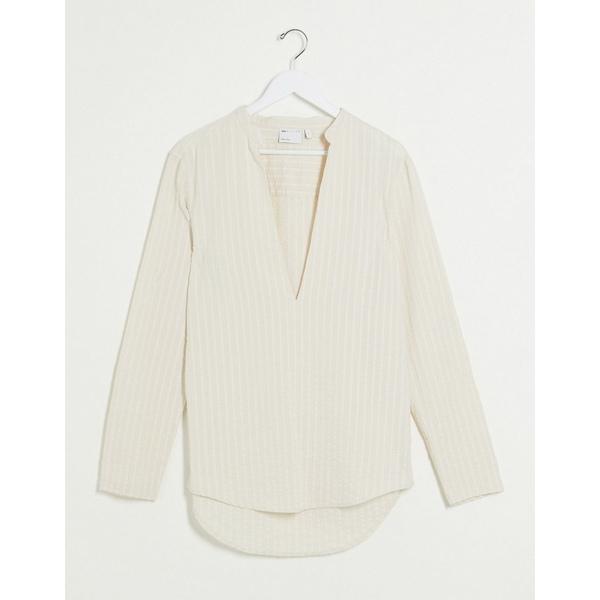 エイソス メンズ シャツ トップス ASOS DESIGN linen mix regular fit overhead shirt in seersucker stripe Beige