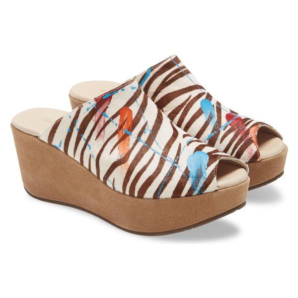 ショコラブルー レディース サンダル シューズ Chocolat Blu Yiona Genuine Calf Hair Wedge Slide Sandal (Women) Zebra Print Calf Hair