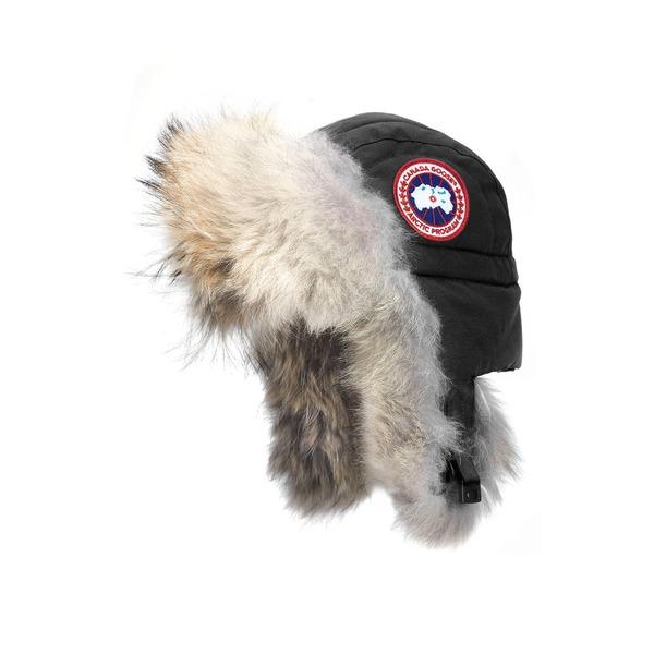 カナダグース レディース 帽子 アクセサリー Canada Goose Aviator Hat with Genuine Coyote Fur Trim Black