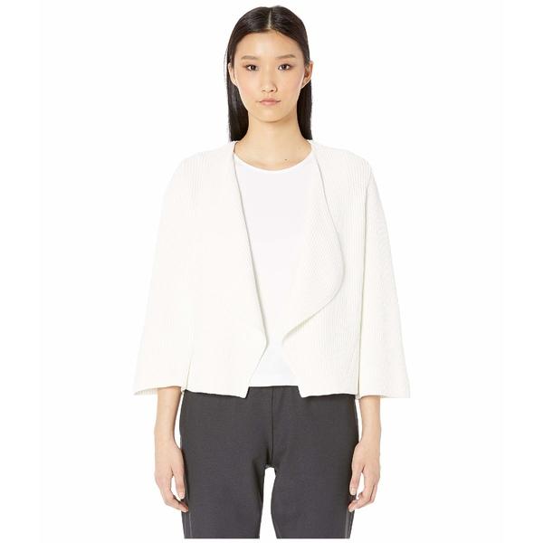 エイリーンフィッシャー レディース ニット&セーター アウター V-Neck Bell Sleeve Cardigan Organic Cotton White
