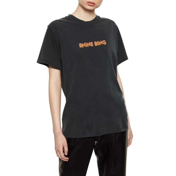 アニービン レディース Tシャツ トップス Lili Retro Logo Tee Black