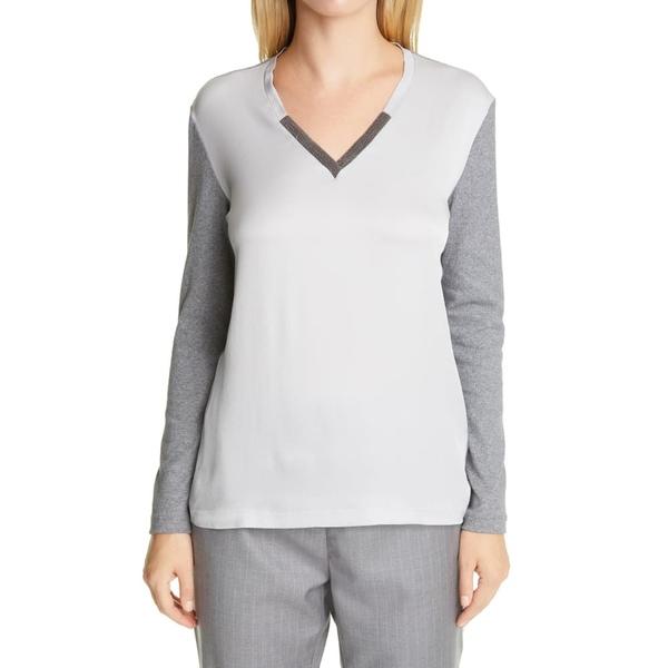 ファビアナ フィリッピ レディース Tシャツ トップス Embellished Contrast Front T-Shirt Grey