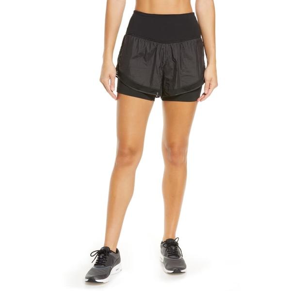 ゼラ レディース カジュアルパンツ ボトムス Fresh Air High Waist Double Layer Shorts Black