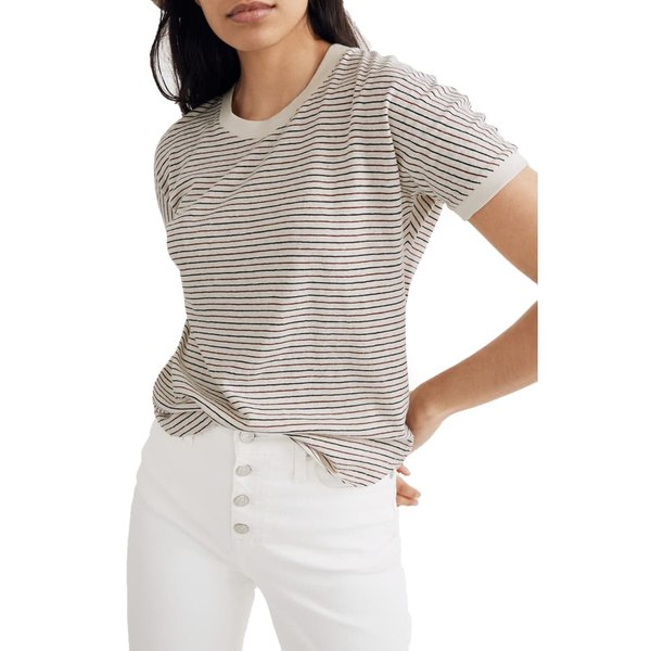 メイドウェル レディース Tシャツ トップス Hemp & Cotton Blend Relaxed Drapey Tee Natural Hemp Longjing Stripe