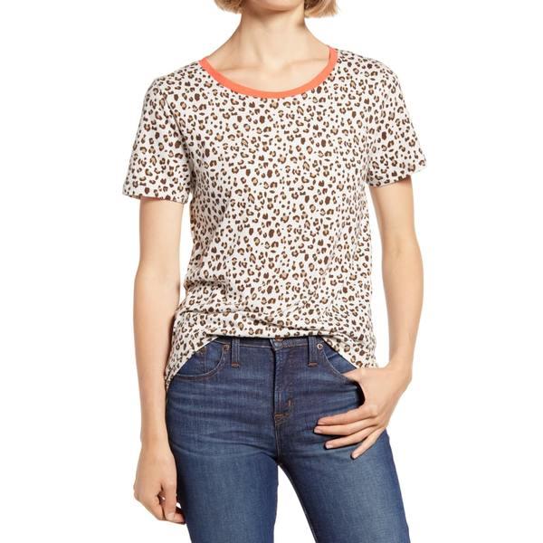 ジェイクルー レディース Tシャツ トップス Leopard Print Ringer T-Shirt Mod B Natural Leo B