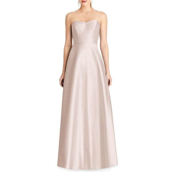 アルフレッド レディース ワンピース トップス Strapless Satin A-Line Gown Blush