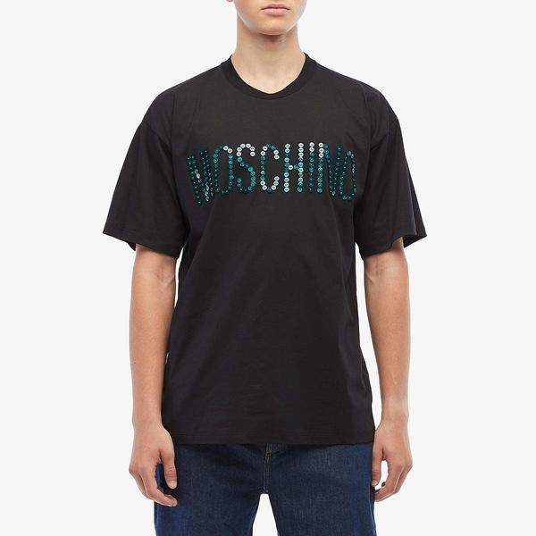 モスキーノ メンズ シャツ トップス Button Logo T-Shirt Black
