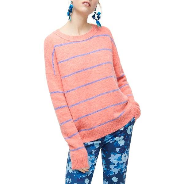 ジェイクルー レディース パーカー・スウェットシャツ アウター Stripe Crewneck Sweater Heather RoseFrench BluewvmN8n0
