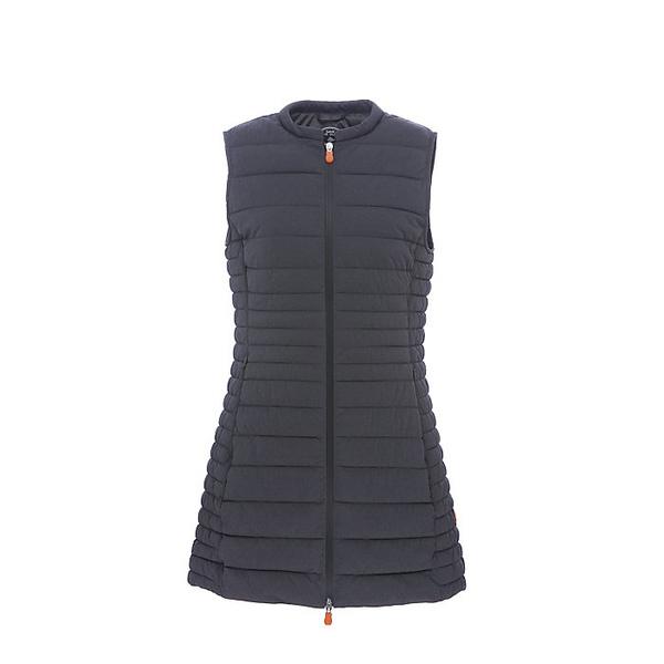 セーブザダック レディース ジャケット&ブルゾン アウター Save The Duck Women's Signature Stretch Long Vest 670 Charcoal Grey Melange