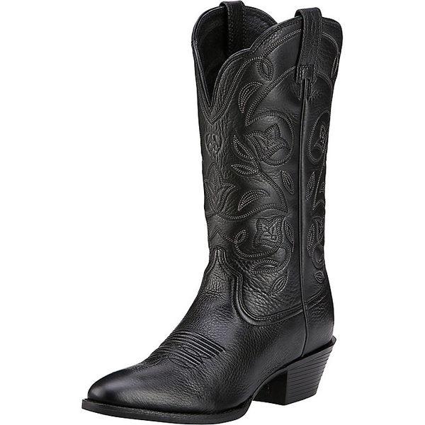アリアト レディース ブーツ&レインブーツ シューズ Ariat Women's Heritage Western R Toe Boot Black Deertan