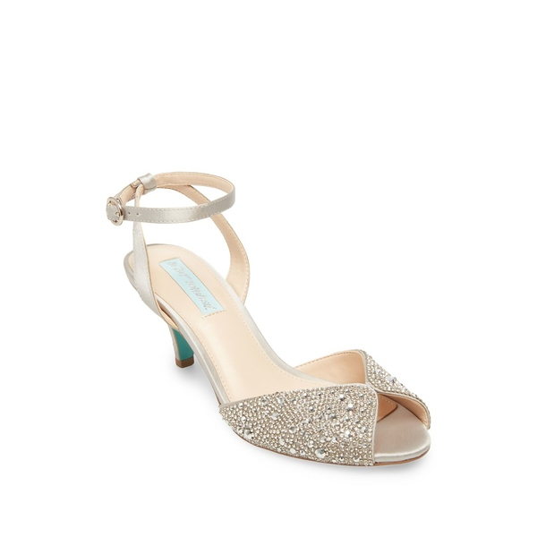 ベッツィジョンソン レディース サンダル シューズ Royal Embellished Satin Ankle-Strap Sandals Silver