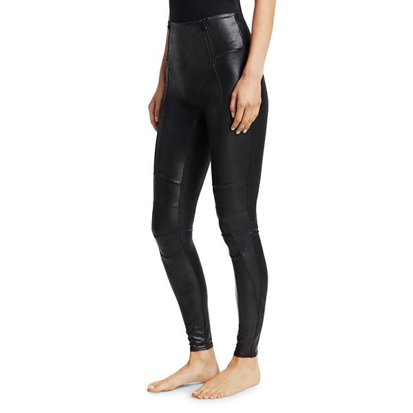 Zippered Leather-Look Leggings Very Black スパンク ボトムス レディース カジュアルパンツ