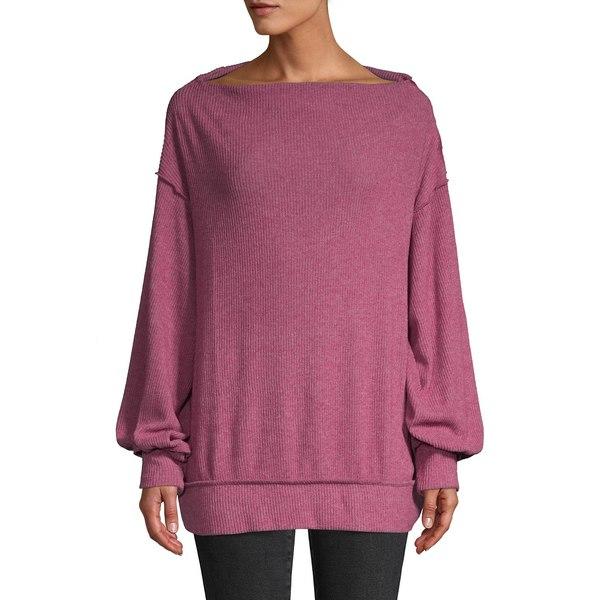 フリーピープル レディース ニット&セーター アウター Off-The-Shoulder Hacci Sweater Wine
